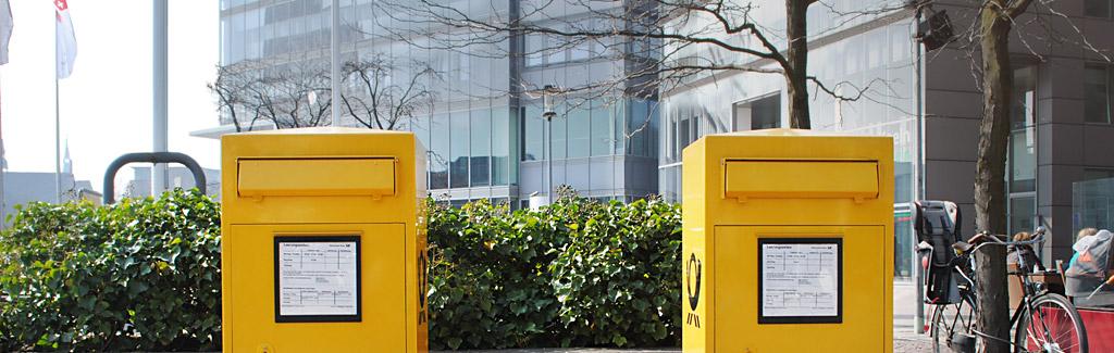 Kontaktseite wort-wahl | Gelbe Postkästen im Mediapark Köln